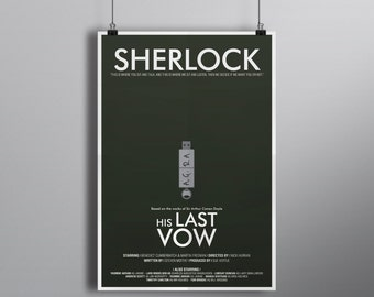 His Last Vow // Minimalist Alternative Mystery Poster // Typography and USB Drive Illustration with Initials