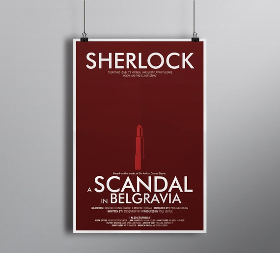 A Scandal in Belgravia, Minimalist Alternative Literature Poster // Typography and Lipstick Illustration with Credits