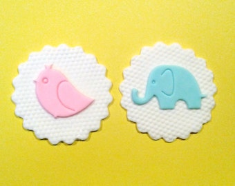 Baby shower fondant cupcake topper Gender Reveal Party