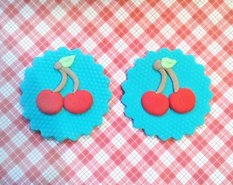 Fondant cupcake toppers Cherries Cherry toppers