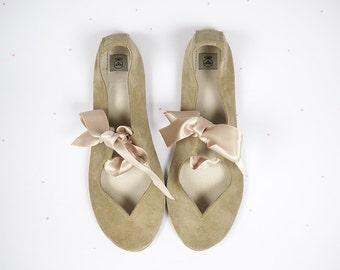 Handmade Ballet Flats Ballerinas Heart Shaped Soft Sand Leather