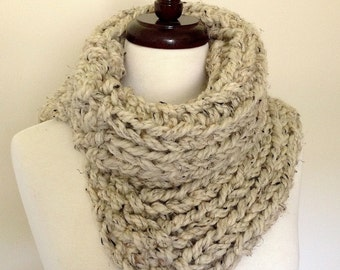 Chunky Knit Split Cowl in Oatmeal (beige/tan with brown & black flecks)