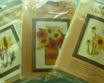 Caron Crewell Emboridery Kit - Choice of 3 - Sunflowers, Fluffy Flowers, Wheat - Size 5 X 7 - 1976, 1977, and 1981 - Unopened Packages -NC