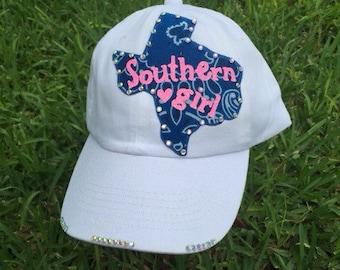 Texas Girl Custom Rhinestone Bling Womens Baseball Cap Hat Chemo Trucker Baseball or Cadet Cap