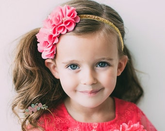 Baby Headband, Gold Pink Headband,Baby Headbands,Flower Headband, newborn headband, baby girl headband, Baby hair bows,Flower Girl Headband