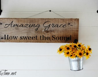 Rustic Sign Wall Hook - Amazing Grace