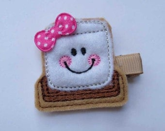 Smore Embroidered Felt Hair Clip - Girls Hair Clip - Smore Clippie - Toddle Clip
