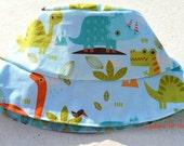 Boys reversible summer bucket hat, boys sun hat, toddler sun hat, boys summer hat, dinosaur summer hat, dinosaur sun hat, dinosaur outfit