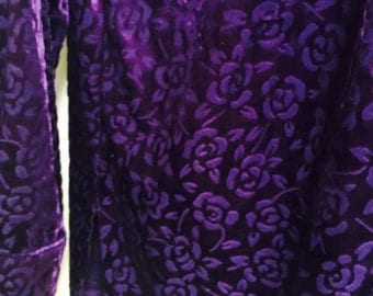 Burn out velvet top large victorias Secret deep purple! blouse/button front excellent condition L/S. 80s vtg 2available