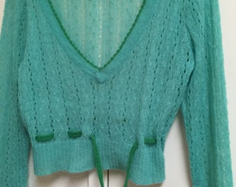 Crochet sweater Lacey Xlarge rocket 898/long sleeve/front tie/acrylic nylon mohair blend