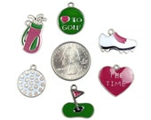 Enamel Golf Charms Lot of 6