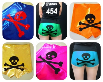 Metallic Skull and Crossbones Roller Derby Shorts - Pre-Order