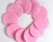 "1 1/4"" Lite Pink NON Adhesive Felt Circles 10 Pack"