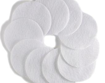"2 1/2"" White NON Adhesive Felt Circles 10 Pack"