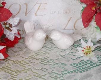 Romantic Love Birds Wedding Cake Topper  -  Ceramic Love Birds Wedding Cake Topper - Song Bird Wedding Cake Topper