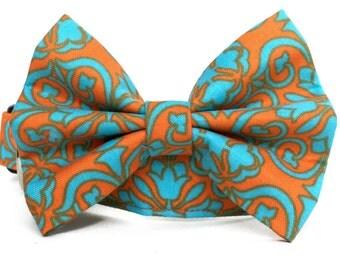 Dog Collar Bow Tie / Orange Blue Dog Collar / Orange Aqua Collar with Bow Tie / Damask Dog Collar / Dog Bowtie / Orange Bowtie Dog Collar