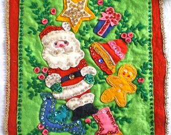 Christmas Decoration Santa Wall Hanger Handmade Felt and Sequins 1960s 1970s
