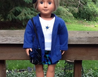 18 Inch Doll Clothes Skirt and Cardigan Outfit, Four Pieces