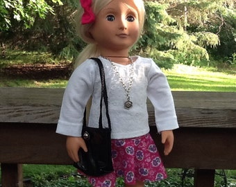Red Flowered Circle Skirt, White lacy Shirt and Purse for 18 inch doll like American Girl, doll necklace, girls gift, girls toy