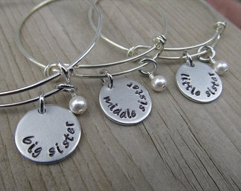 "Set of Three Sister's Bracelets- hand-stamped ""big sister"", ""middle sister"", and ""little sister"" Three Bracelet Set"