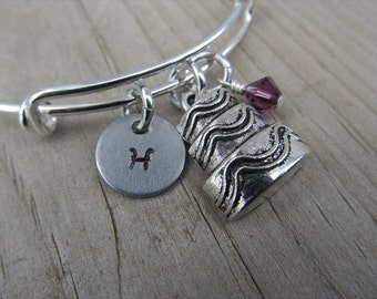 Cake Bangle Bracelet- Adjustable Bangle Bracelet with Hand-Stamped Initial, Cake Charm, and accent bead
