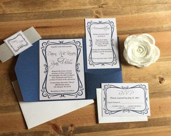Pocketfold Wedding Invitation, Flourish Wedding Invitation, Frame Wedding Invitation, Custom Wedding Invitation, Layered Wedding Invitaton