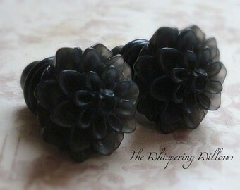 Gypsy Puff Flower Plugs for Gauged Ears, Choose your color, Sizes 00, 0, 2, 4, 6 gauge, earrings