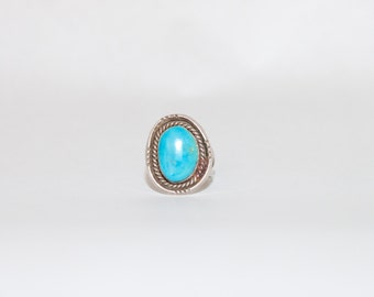 Old Silver Turquoise Boho Ring Size 6 1/2