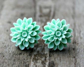 Mint Mum Earrings, Hypoallergenic Titanium Posts with Handmade Mint Green Resin Mums