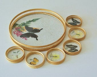 Vintage Bamboo Tray Coasters set,Wood  Tray, Butter Fly