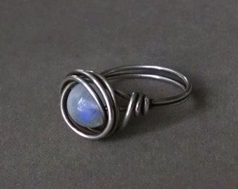 Rainbow Moonstone Ring - Oxidized Sterling Silver Ring - Wire Wrapped Ring - Gemstone - Moonstone Jewelry - Made to Order - June Birthstone