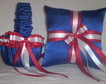 Blue Horizon Satin With Red And White Ribbon Trim Flower Girl Basket And Ring Bearer Pillow