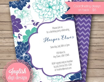 Printable Peacock Birthday Party Invitation, Peacock Birthday Party Invite, Peacock Party - Peacock Floral in Navy, Purple and Teal