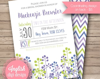 Floral Bridal Shower Invitation, Printable Bridal Shower Invitation, Floral Bridal Shower Invite - Floral Silhouettes in Purple, Blue, Green