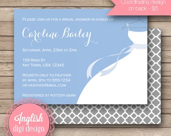 Wedding Dress Bridal Shower Invitation, Printable Bridal Shower Invitation, Wedding Gown Invite - Wedding Dress in Blue, White