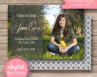 Photo Graduation Announcement, Printable Photo Graduation Announcement - Simple Silhouette in Gray, Pink, Purple or Teal
