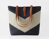 Linen chevron, Dark navy tote / diaper bag / shoulder bag, leather handles, 9 pockets.  Design by BagyBags