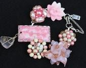 Vintage Earring Bracelet, Bridesmaid Gift, Upcycled, Pink, Blush, White, Flower, Pearl, Jennifer Jones, Bulk Discount, OOAK - Pink Champagne