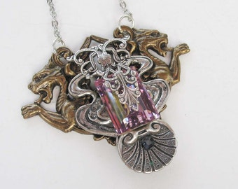 Brillant Pink Swarovski Crystal Necklace Victorian Steampunk Brass and Silver long chain