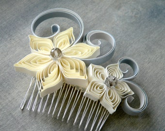 Ivory Hair Comb, Ivory Wedding Hair Comb, Bridal Hair Comb, Handmade Haircomb, Unique Brides Comb, Wedding Hair Accessory