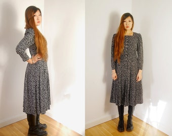 80s vintage japanese heart pattern long dress with pearl buttons size M