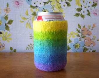 Felted Beer Cozy - The Rainbow Stripes Collection  - Easter Egg Dyed 100% Wool