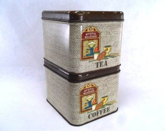 Stacking Coffee and Tea Canister Set by Cheinco Vintage 70s