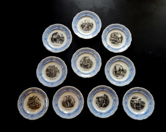 French Antique Plates Set of 10 Dessert Plates  Drinks Theme c. 1840s-1860s