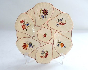 French Vintage Hand Painted Oyster Plate in Majolica made by Longchamp
