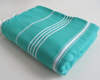 SALE 30 OFF / Classic Blanket / Turquoise / Beach blanket, Picnic blanket, Sofa throw, Tablecloth, Bedcover