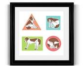 Beagle Geometric Nursery Art Print for Baby, Toddlers, Children, Kids Room, Dog Lovers