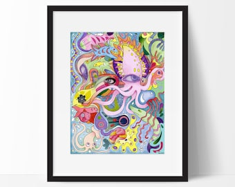 Psychedelic Squid Poster, Fine Art Print, Mixed Media, 8.5 x 11 Illustration