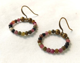 Multi-Colored Tourmaline Gemstone Earrings, Antiqued Brass Ring Earrings