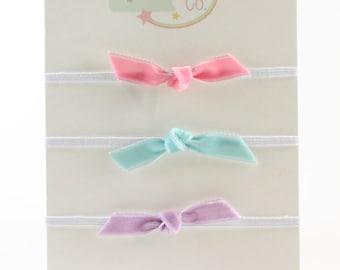 Velvet Bows Headbands Set - Pink Lavender Aqua - Newborn Baby Headbands